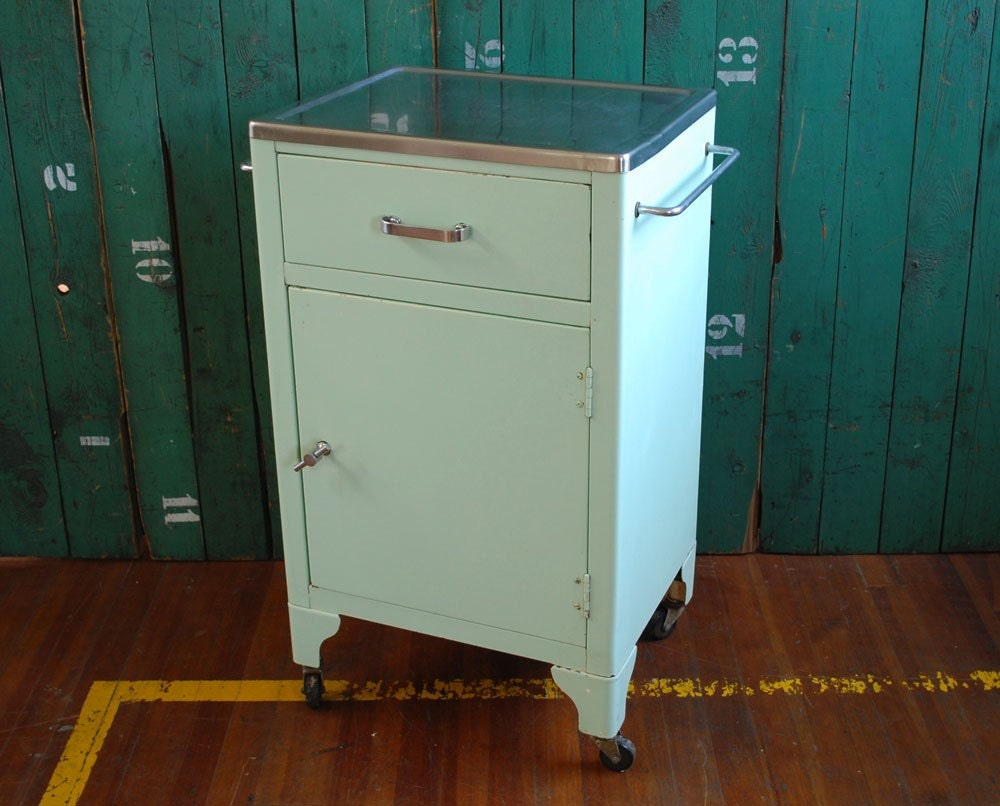 Midcentury Medical Cabinet Stainless Steel Top