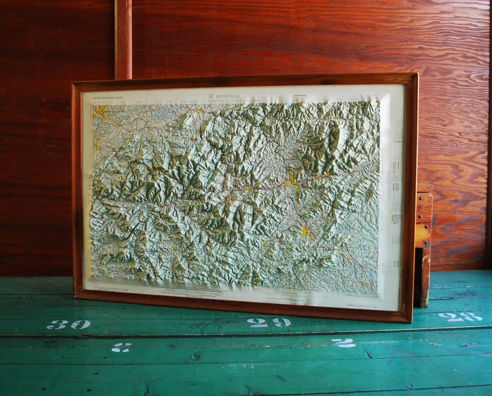 Topographic Raised Relief Map Great Smoky Mountains