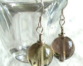 Smoky Quartz and Silver Earrings
