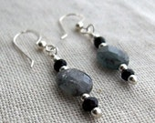 Blue Kyanite and Onyx Earrings Sterling Silver - reserved for bee