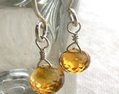 Citrine Earrings in Sterling Silver - Faceted Citrine Briolettes - November Birthstone
