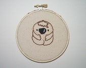 Baby Sloth Embroidery--Wall Art