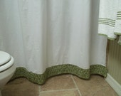 Shabby Chic - Crisp White Cotton - Shower Curtain with Pear Green Bud Satin Trim
