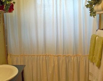 So Shabby & Chic - Ruffled - Cream - Washed Cotton - Shower Curtain