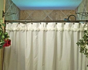 White Shabby Flower Trim Cotton Shower Curtain