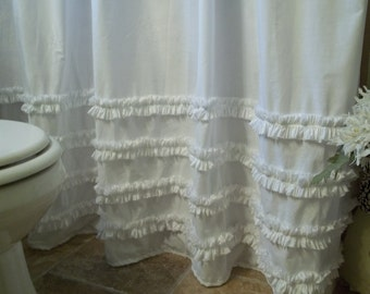 Shabby Chic - Cottage- Beach - Washed White Cotton Ruffles Shower Curtain