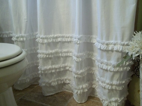Shabby Chic Cottage Beach Washed White Cotton Ruffles