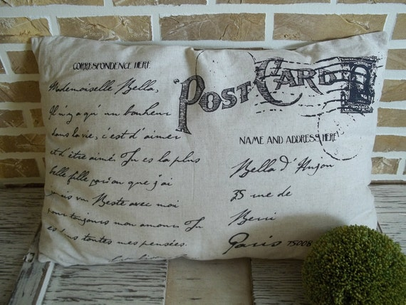 SALE - HALF PRICE - French  Address Post Card Pillow