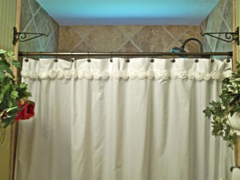 White shabby flower trim cotton shower curtain - Shabby chic shower curtains ...