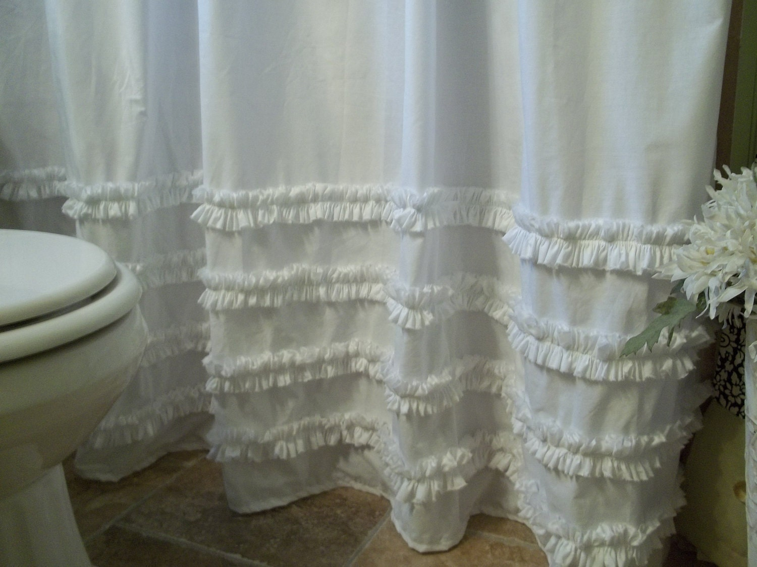 Country ruffled shower curtains - White Cotton Ruffle Shower Curtain White Cotton Ruffles Shower Curtain Zoom