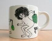 Arabia Finland coffee cup coffee mug Loyly Sauna Gunvor Olin Gronqvist 1960s rare white black green