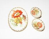 Vintage Sugar coated West Germany Brooch Pin and clip on earrings set Wildflowers