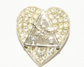 Vintage Fraternal order of Moose Rhinestone Heart FHC  Brooch ORA