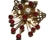 Vintage Red Rhinestone Prong Set Spray Flower Brooch