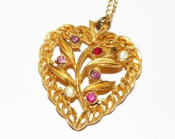 Vintage Multi Colored Rhinestone Heart Charm Pendant Necklace