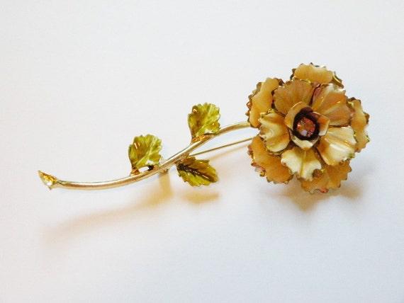 Vintage Flower Brooch Large  Peach Rose Flower Power with aurora borealis center