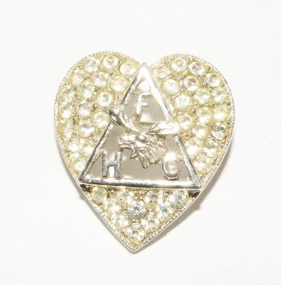 Vintage Fraternal order of Moose Rhinestone Heart FHC  Brooch ORA