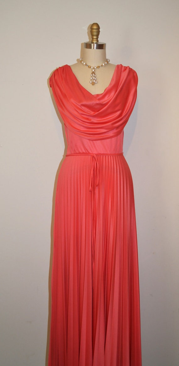 SALE Vintage 1970s Rose Pink Evening Gown Small