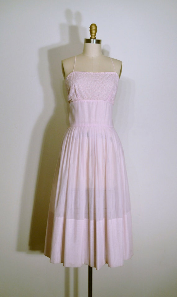 FREE SHIPPING Vintage 1950s Dress- 50s Party Dress - Pale Pink