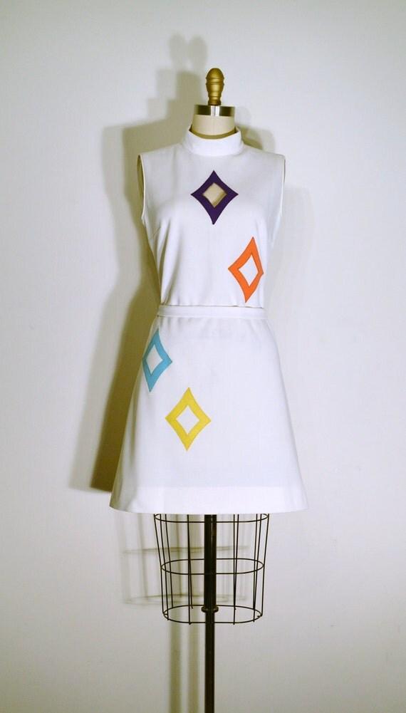 RESERVED Vintage 1960s Dress - 60s Shift Dress - Multicolored Diamonds