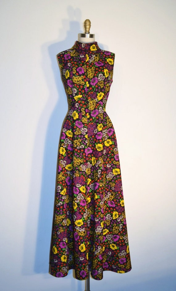 Vintage 1960s Dress - 60s Maxi Dress - Black and Yellow Floral Print