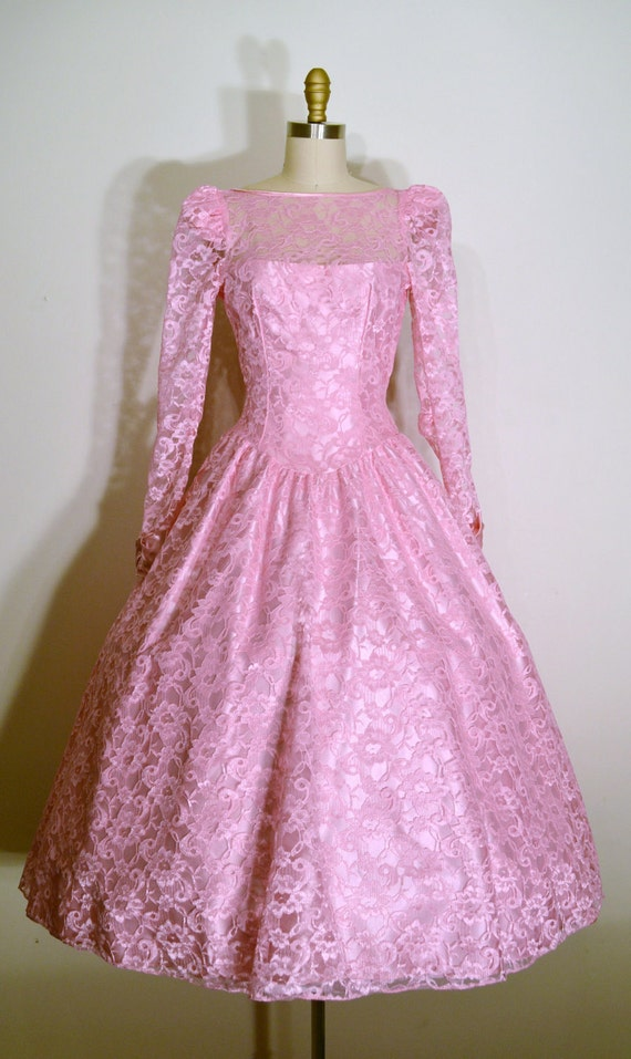 Vintage 1970s Dress - 70s Party Dress - Pink Lace
