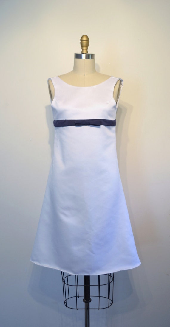 Vintage 1960s Dress - 60s Party Dress - White and Navy