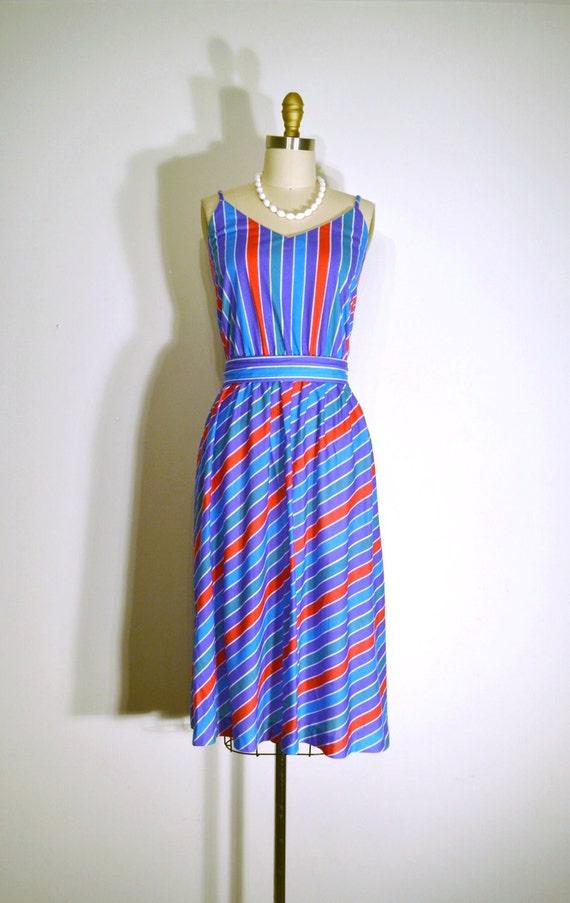 Vintage 1970s Dress - 70s Summer Dress - MultiColored Striped Print