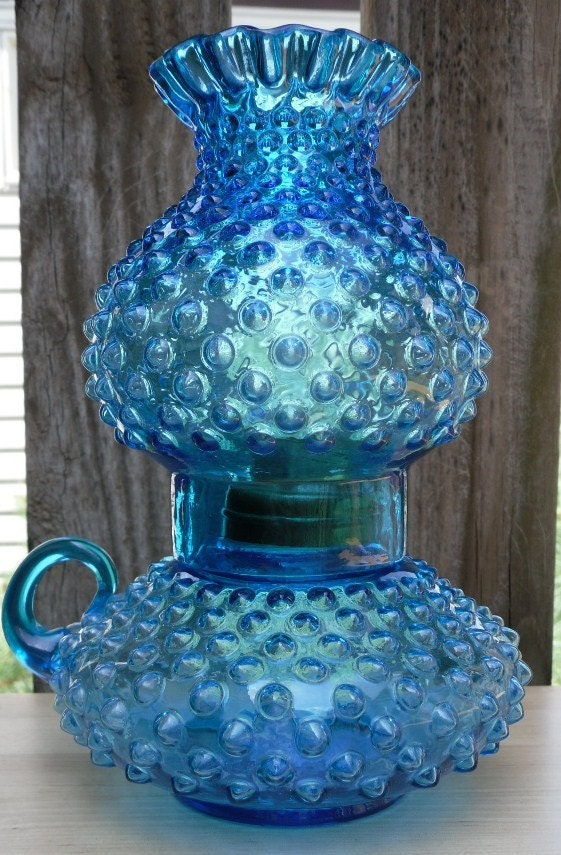 Vintage Blue Hobnail Glass Lamp