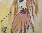 Thinking of You - ACEO ORIGINAL Watercolor, and Archival ink- Dusty Rose-Pinks with Yellow Greens