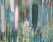 Ethereal Water Forest with Green Drop Abstract Painting- Large Modern Painting in White -Orange- Blues Yellows and Greens