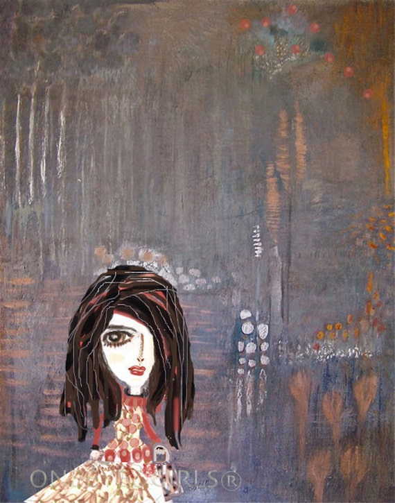"""Penelope in Silver Orange Water Forest Mixed Media Print  5x7"""" Metallic Silver-Phthalo Blue-Red- Orange and Cream"""