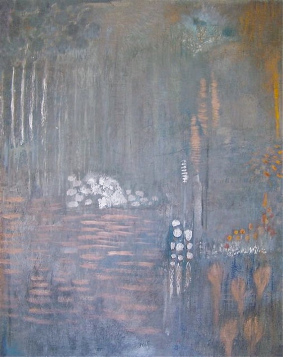 """Free Shipping-Silver and Orange Water Forest- Large Original Painting -Abstract Landscape-Ethereal 30""""x 40"""""""