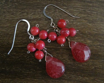 Pink Shell/Dyed Magenta Jade Faceted Teardrop Earrings (A10)