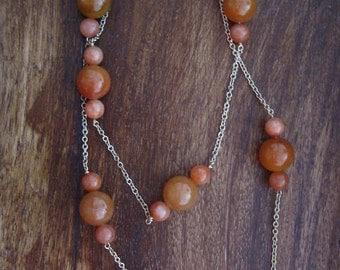 Peach Aventurine Brass Long Necklace (B26)