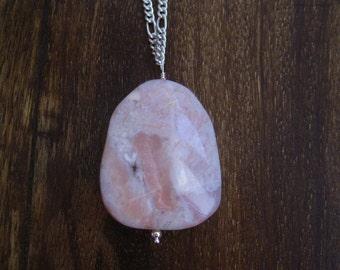 Pink Opal Sterilng Silver Long Necklace (B37)
