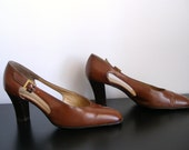 Vintage Chesnut Brown High Heels with Straps 6.5