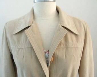 Vintage Faux Suede Women's Trench Coat, Beige Lightweight Spring Jacket - Medium