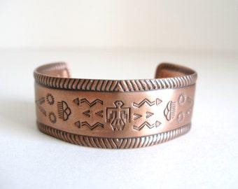 Vintage Boho Chic Copper Thunderbird Cuff Bracelet Southwest Tribal Motif with Arrows