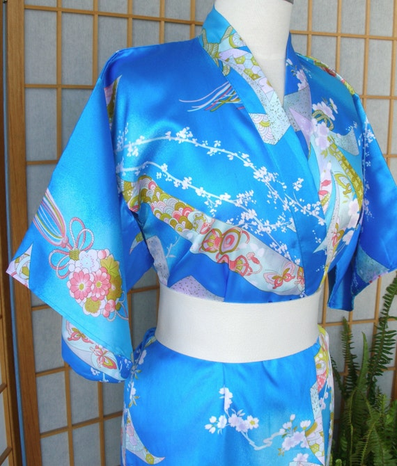 Vintage Japanese Cherry Blossom Kimono - Blue with Flower Blossoms - CIJ SALE
