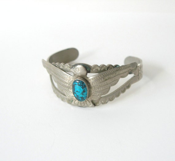 Vintage Silver Eagle Cuff Bracelet with Turquoise - Costume Jewelry