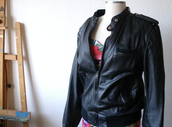 Vintage 80's Black Leather Members Only Motorcycle Jacket Medium