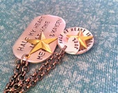 Wear It Proud-Half My Heart Is At Home...Hand Stamped Dog Tag Necklace-Men's Version