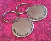 On SALE-HIS & HER Keychains...Hand Stamped