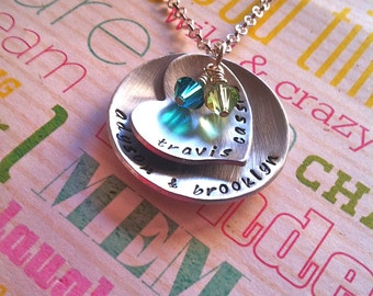 NEW-Birthstones...Hand Stamped Family Necklace