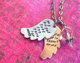 NEW-Wings Of Love...Hand Stamped Rememberance Necklace
