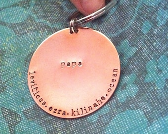DAD.MEN.FATHER Copper Keychain...Hand Stamped
