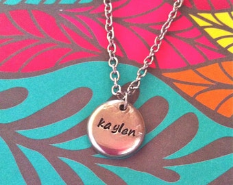 NEW-Single Name Pewter Pebble...Hand Stamped Necklace