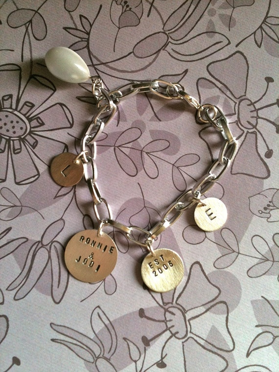 FAMILY BRACELET-custom hand stamped sterling silver