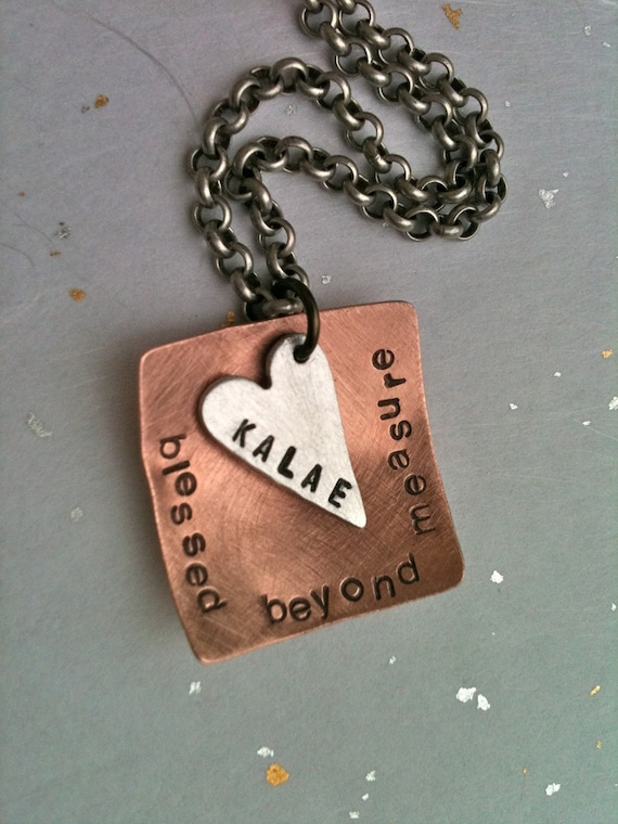 blessed  beyond measure...Hand Stamped Personalized Necklace